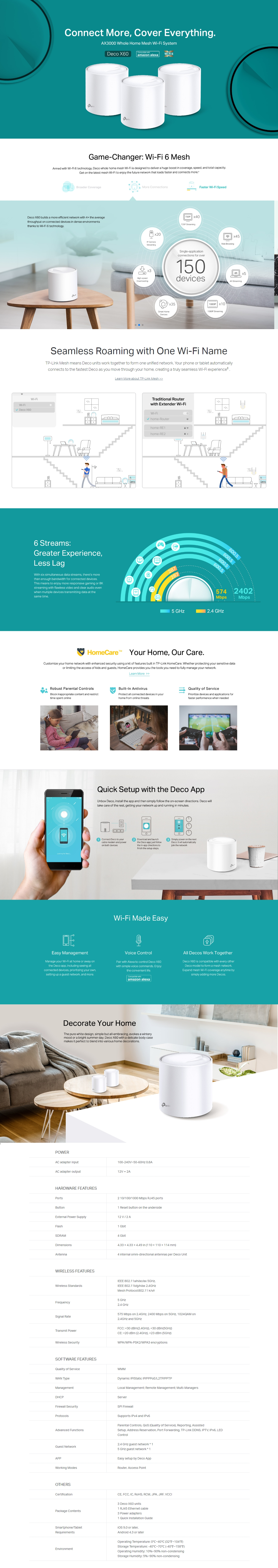 A large marketing image providing additional information about the product TP-LINK Deco X60 AX3000 Home Mesh Wireless System - Additional alt info not provided