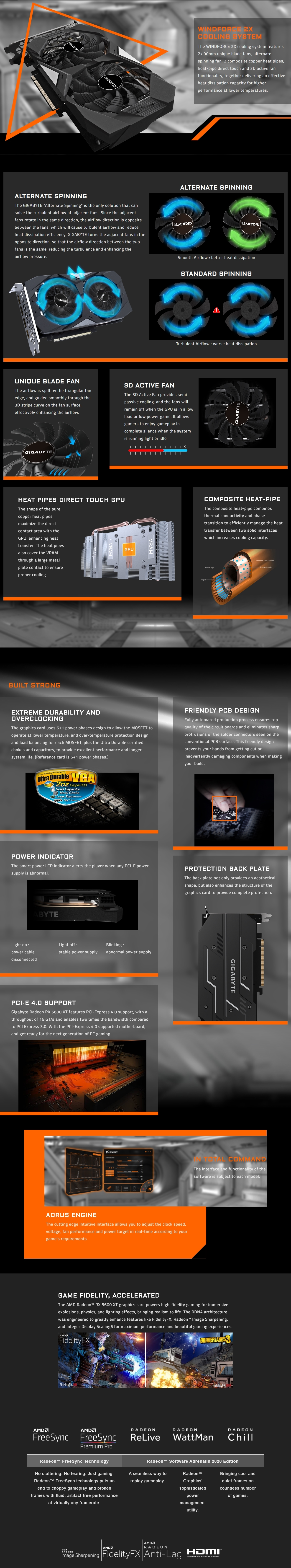A large marketing image providing additional information about the product Gigabyte Radeon RX 5600 XT WINDFORCE OC 6GB GDDR6 - Additional alt info not provided