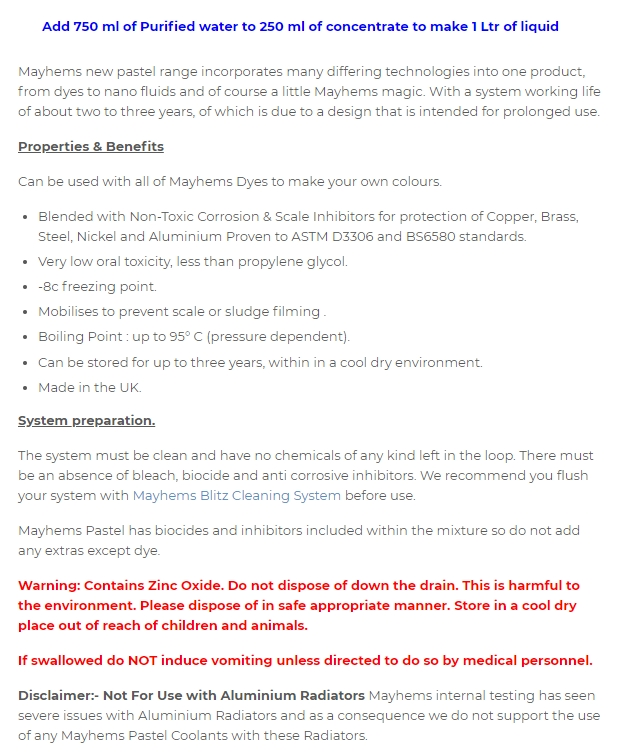 A large marketing image providing additional information about the product Mayhems Pastal V2 White 250ml Concentrate - Additional alt info not provided