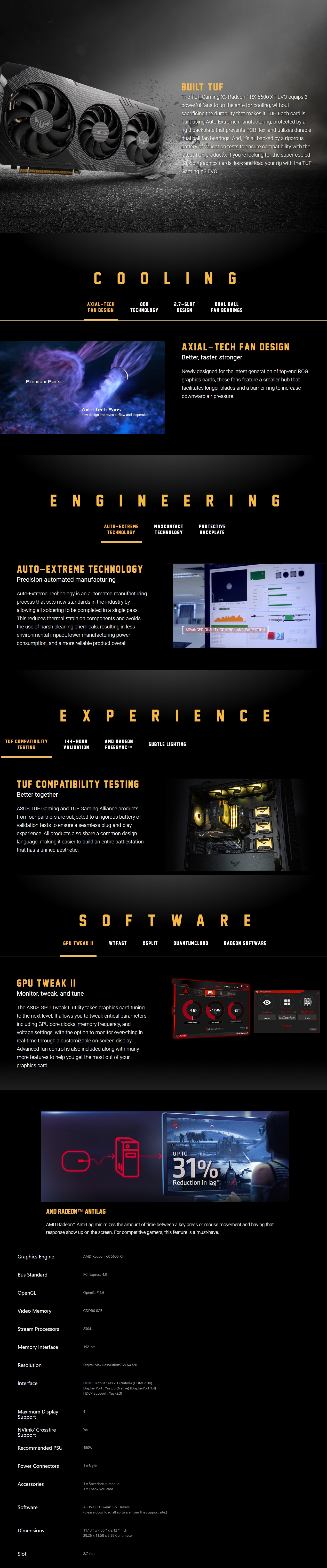 A large marketing image providing additional information about the product ASUS Radeon RX 5600 XT TUF Gaming X3 EVO 6GB GDDR6 - Additional alt info not provided