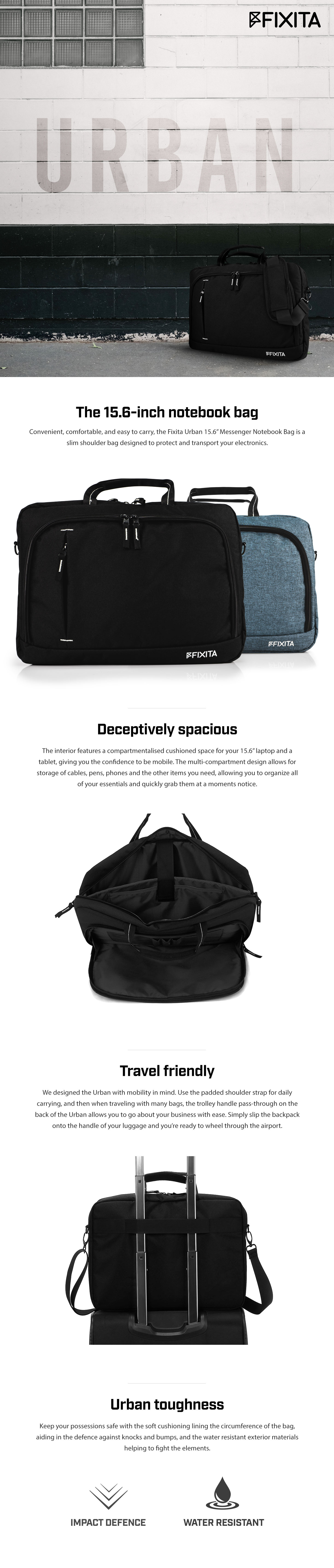 "A large marketing image providing additional information about the product Fixita Urban 15.6"" Black Messenger Notebook Bag - Additional alt info not provided"