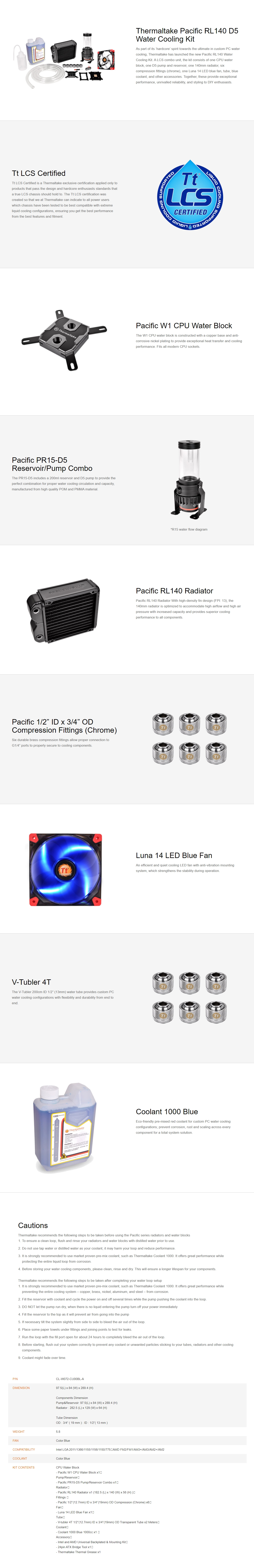 A large marketing image providing additional information about the product Thermaltake Pacific RL140 D5 Water Cooling Kit - Additional alt info not provided