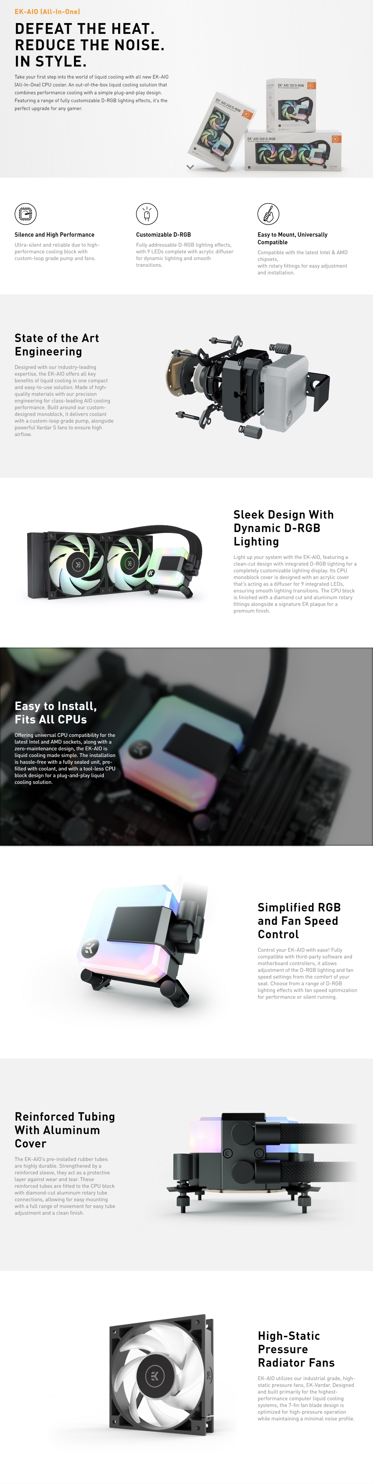 A large marketing image providing additional information about the product EK AIO 120 D-RGB AIO Liquid CPU Cooler - Additional alt info not provided