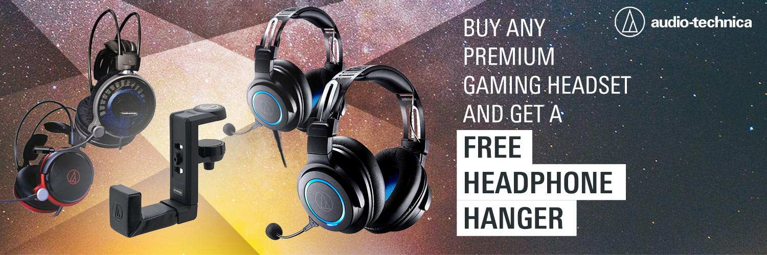 A large marketing image providing additional information about the product Audio Technica Gaming Headset + Free Hanger - Additional alt info not provided
