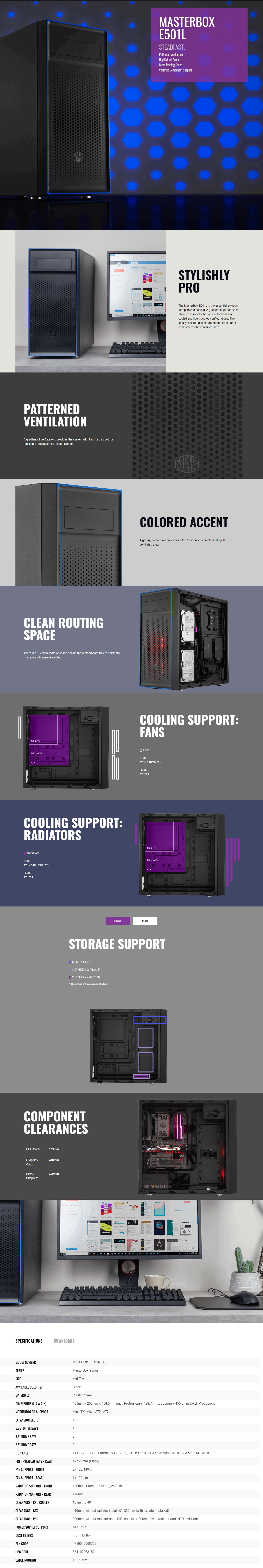 A large marketing image providing additional information about the product Cooler Master MasterBox E501L Mid Tower Case w/500W Power Supply - Additional alt info not provided