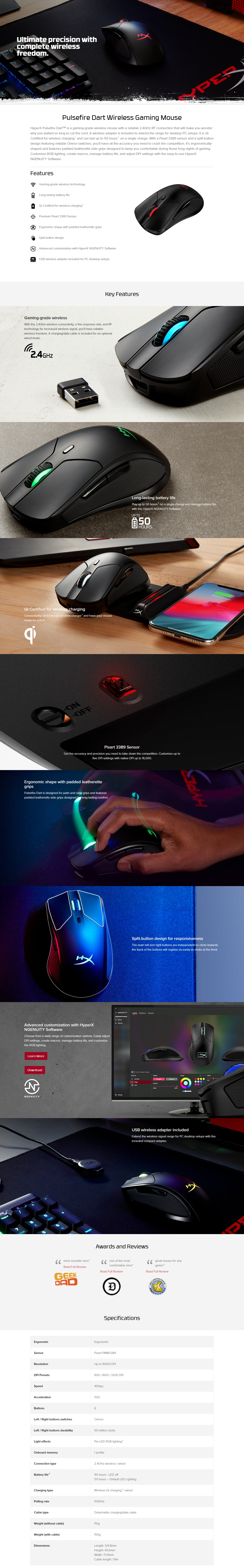 A large marketing image providing additional information about the product Kingston Pulsefire Dart Qi Wireless Gaming Mouse - Additional alt info not provided