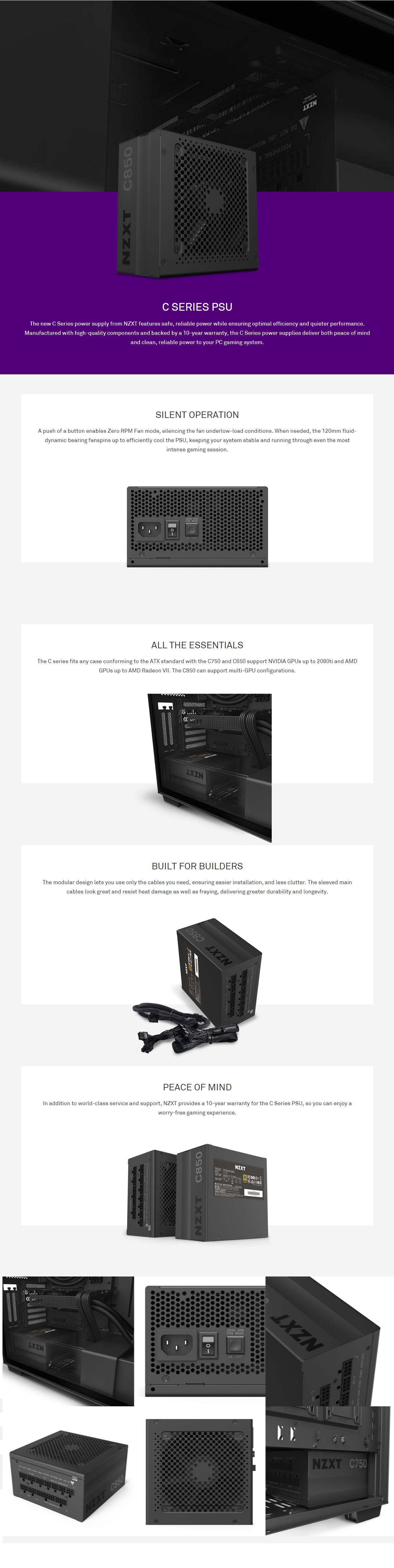 A large marketing image providing additional information about the product NZXT C Series C850 850W Modular 80Plus Gold ATX Power Supply - Additional alt info not provided