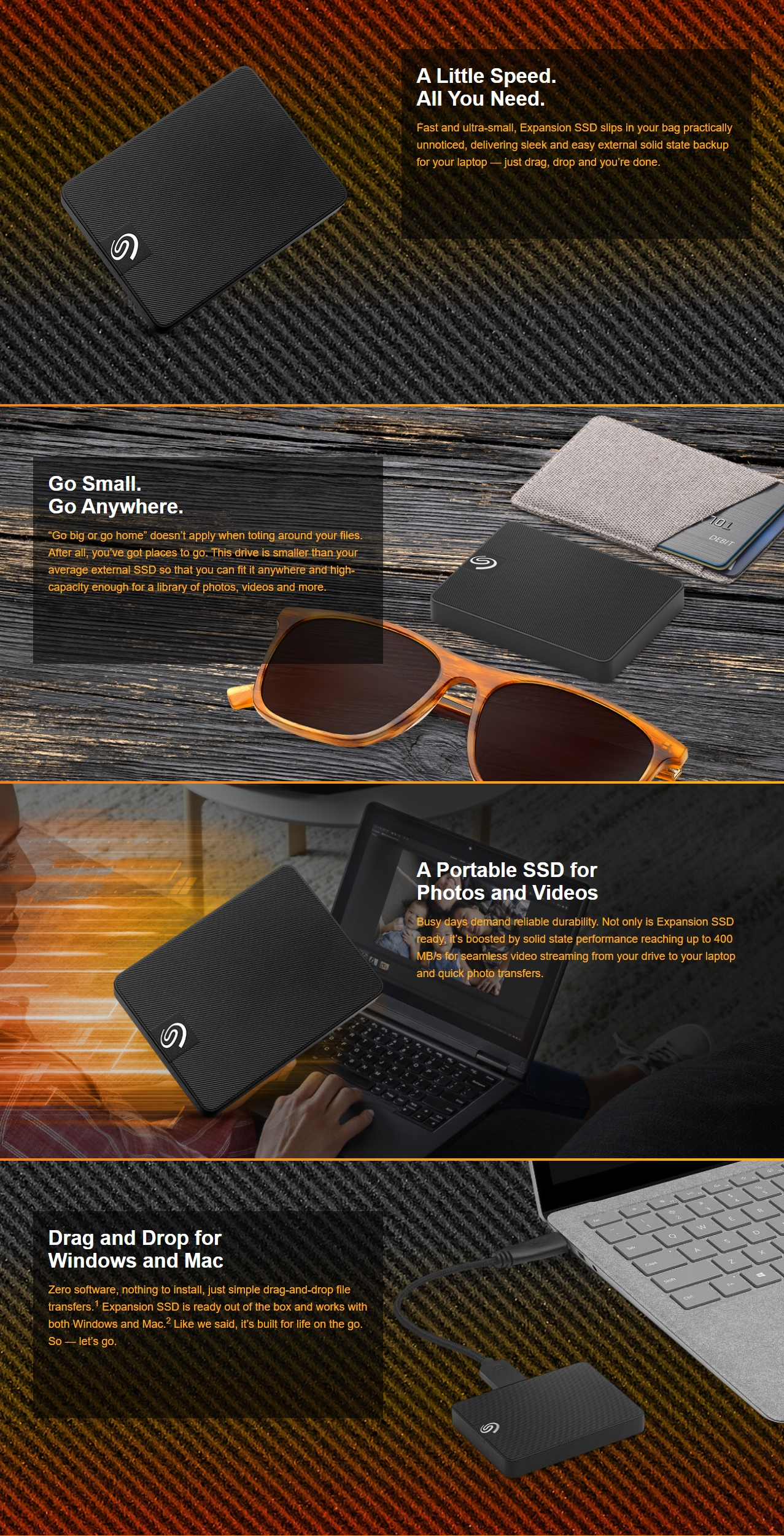 A large marketing image providing additional information about the product Seagate Expansion 500GB External SSD - Additional alt info not provided
