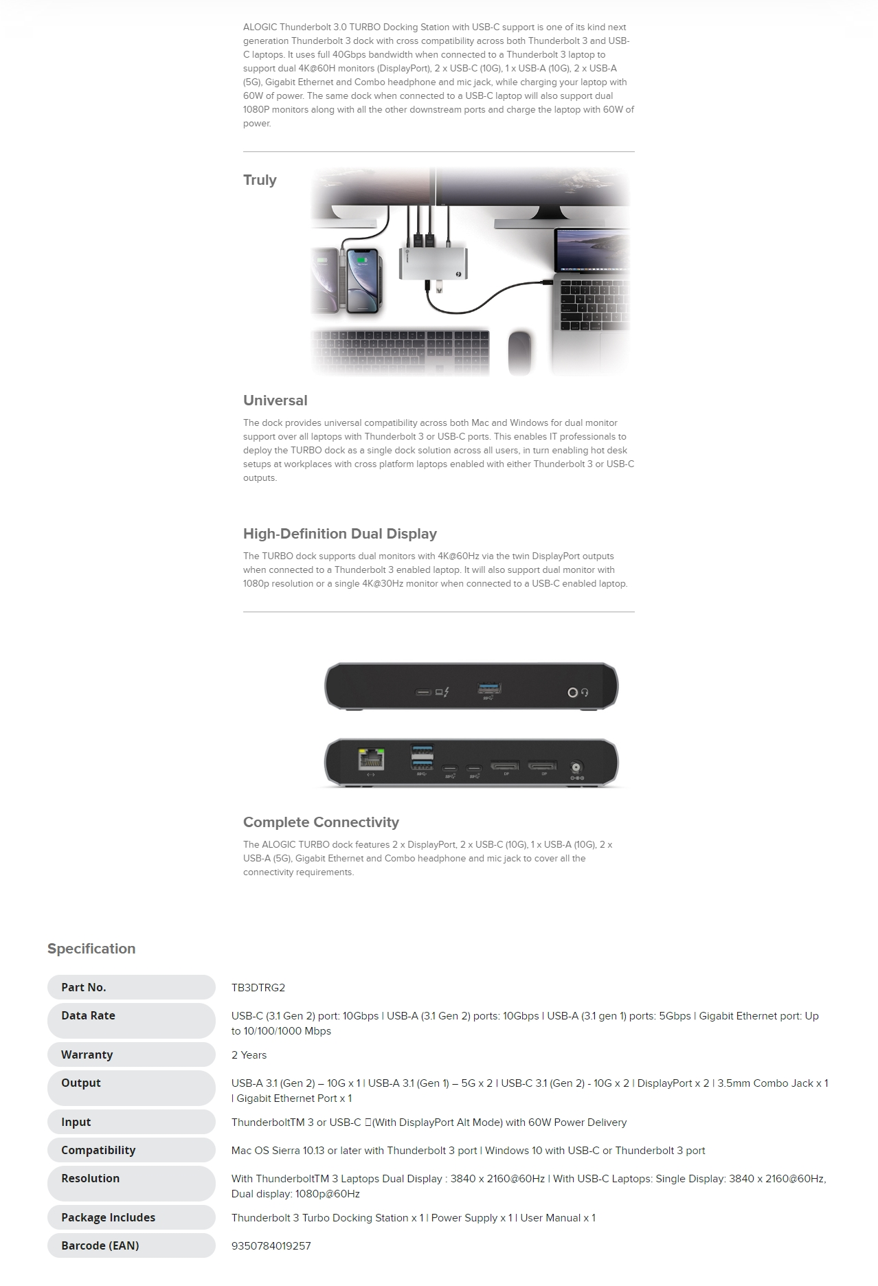 A large marketing image providing additional information about the product ALOGIC Thunderbolt 3.0 TURBO Docking Station with USB Type-C - Additional alt info not provided