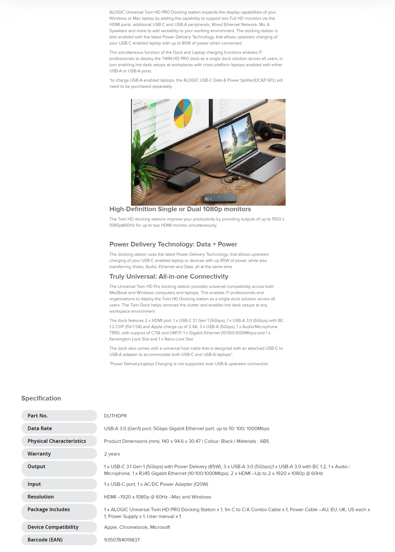 A large marketing image providing additional information about the product ALOGIC Universal TWIN HD PRO Docking Station with Power Delivery 85W - Additional alt info not provided