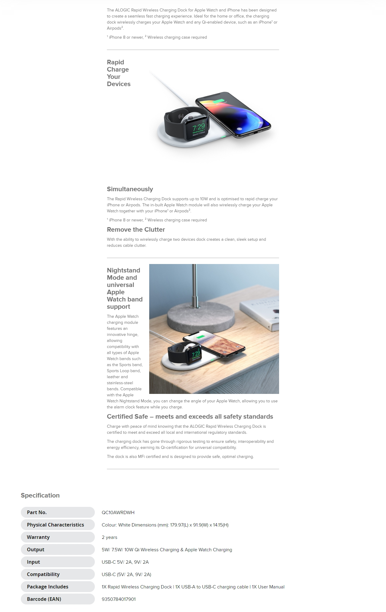 A large marketing image providing additional information about the product ALOGIC RAPID Wireless Charging Dock for Apple Watch & iPhone - Additional alt info not provided