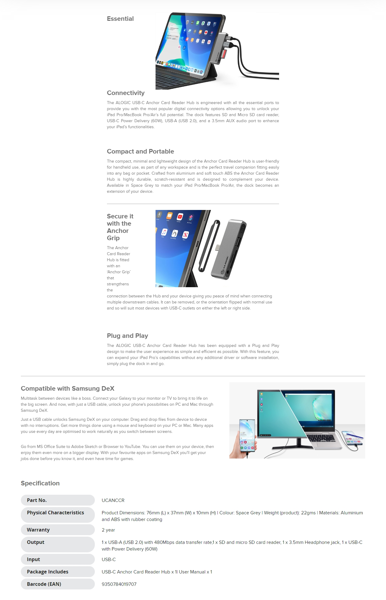 A large marketing image providing additional information about the product ALOGIC USB-C Anchor 5-in-1 Card Reader Hub - Additional alt info not provided