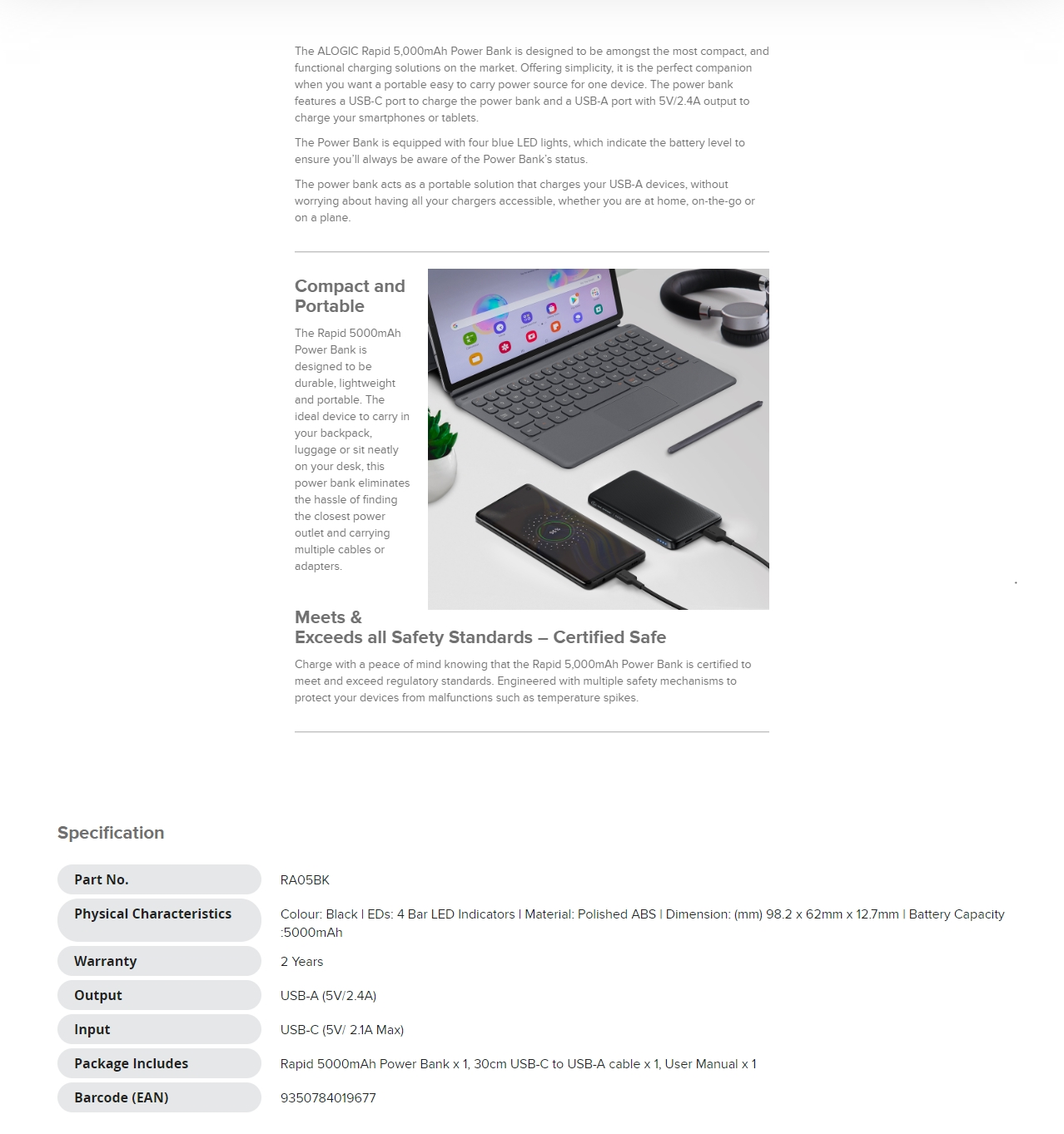 A large marketing image providing additional information about the product ALOGIC Rapid 5000mAh Power Bank - Black - Additional alt info not provided