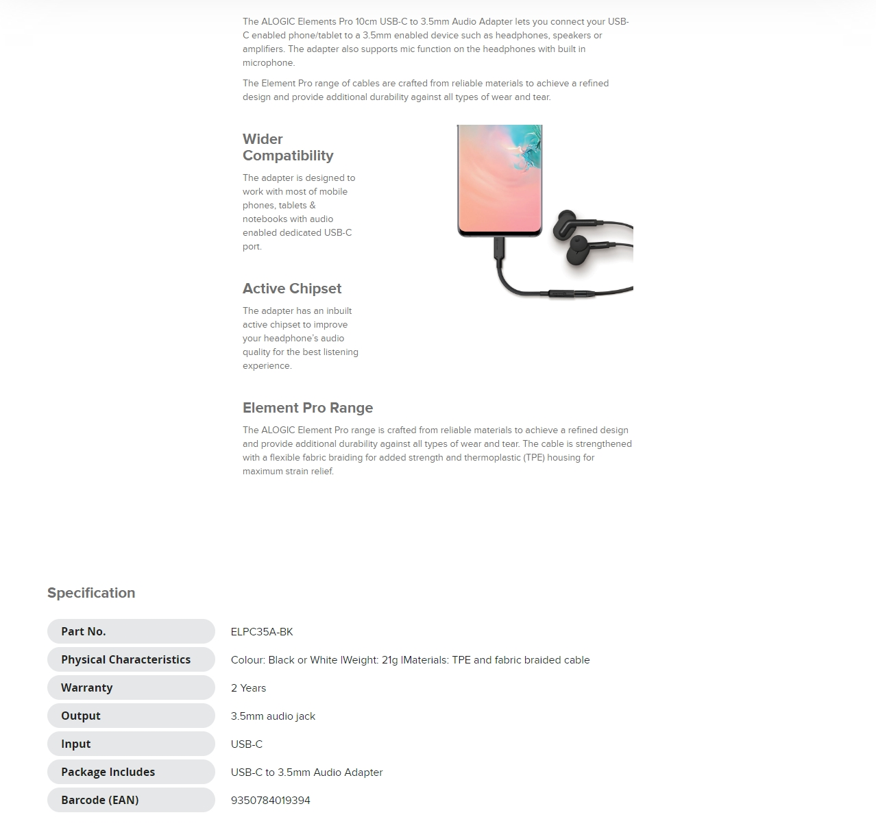 A large marketing image providing additional information about the product ALOGIC Elements PRO USB-C to 3.5mm Audio Adapter - Black - Additional alt info not provided