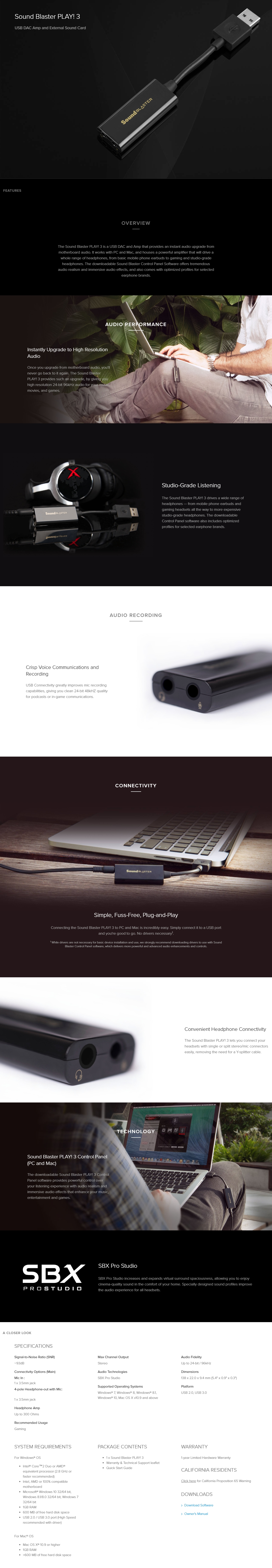 A large marketing image providing additional information about the product Creative Play! 3 USB External DAC Sound Card - Additional alt info not provided