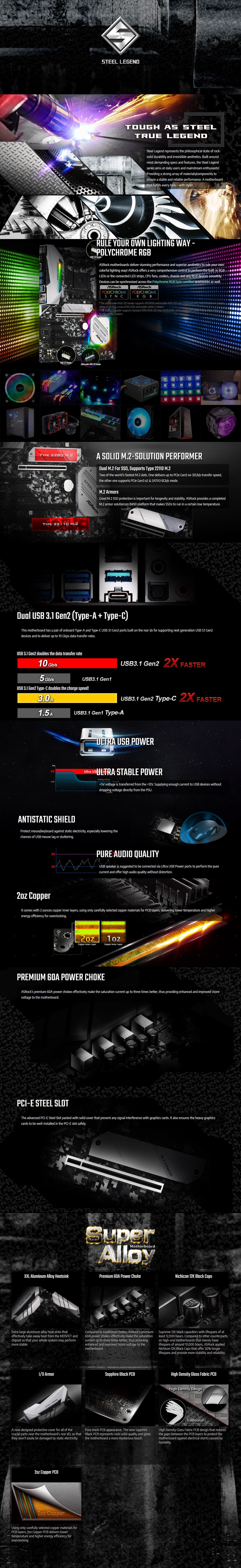 A large marketing image providing additional information about the product ASRock B450 Steel Legend AM4 ATX Desktop Motherboard - Additional alt info not provided