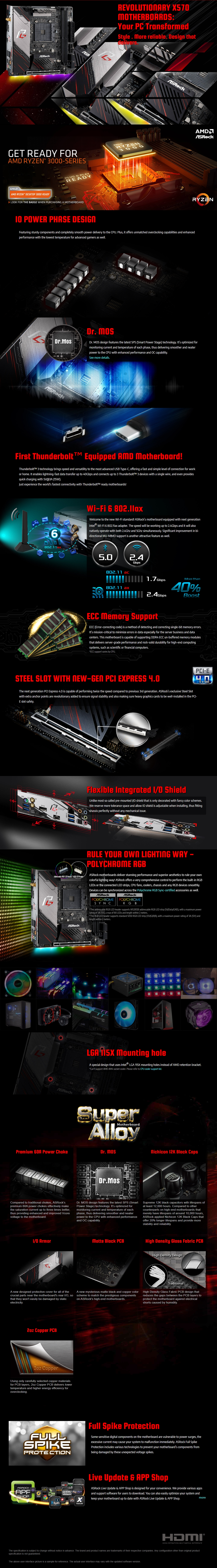 A large marketing image providing additional information about the product ASRock X570 Phantom Gaming-ITX/TB3 AM4 mITX Desktop Motherboard - Additional alt info not provided
