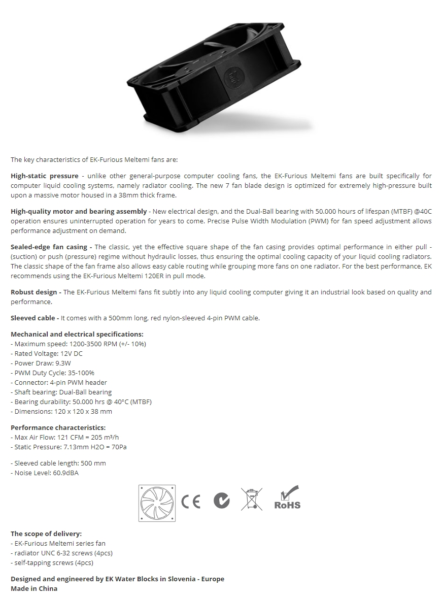 A large marketing image providing additional information about the product EK Furious Meltemi PWM 120mm Radiator Fan - Additional alt info not provided
