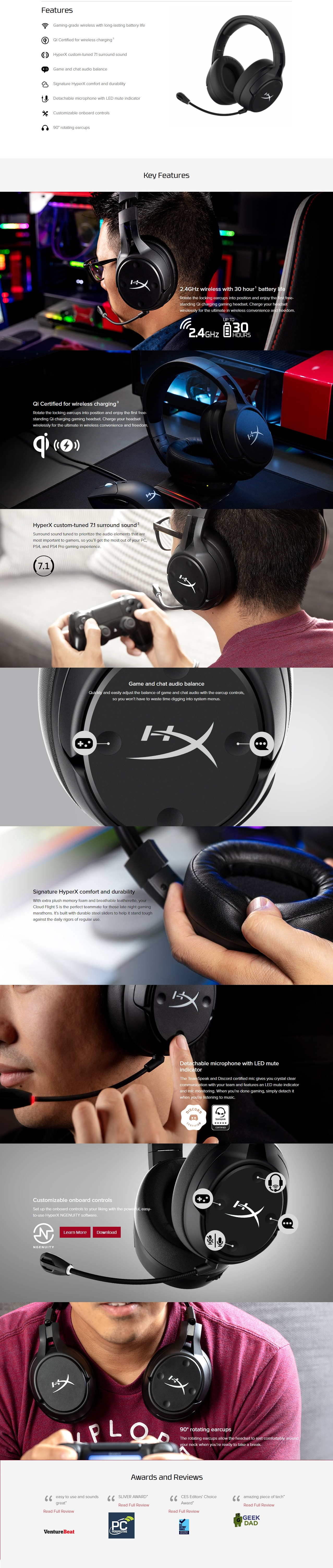 A large marketing image providing additional information about the product Kingston HyperX Cloud Flight S Wireless Gaming Headset - Additional alt info not provided