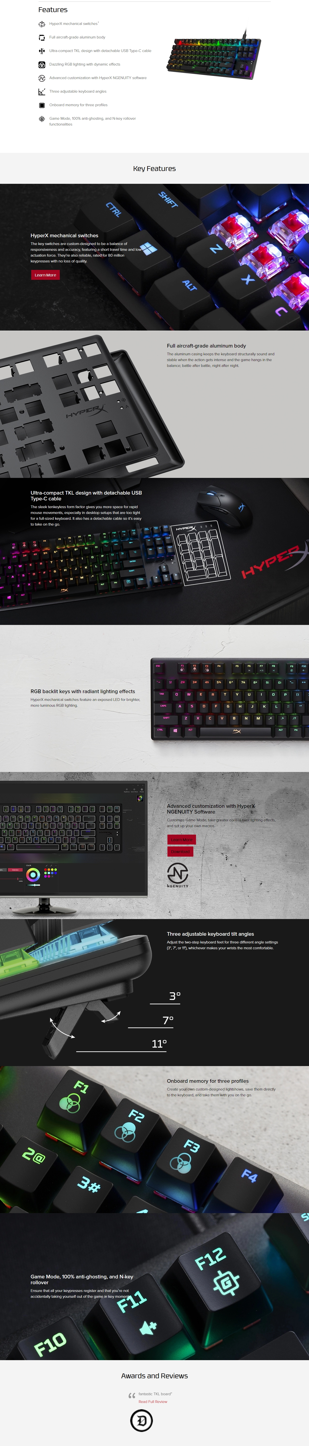 A large marketing image providing additional information about the product Kingston HyperX Alloy Origins Core RGB Mechanical Gaming Keyboard (Aqua Switch) - Additional alt info not provided