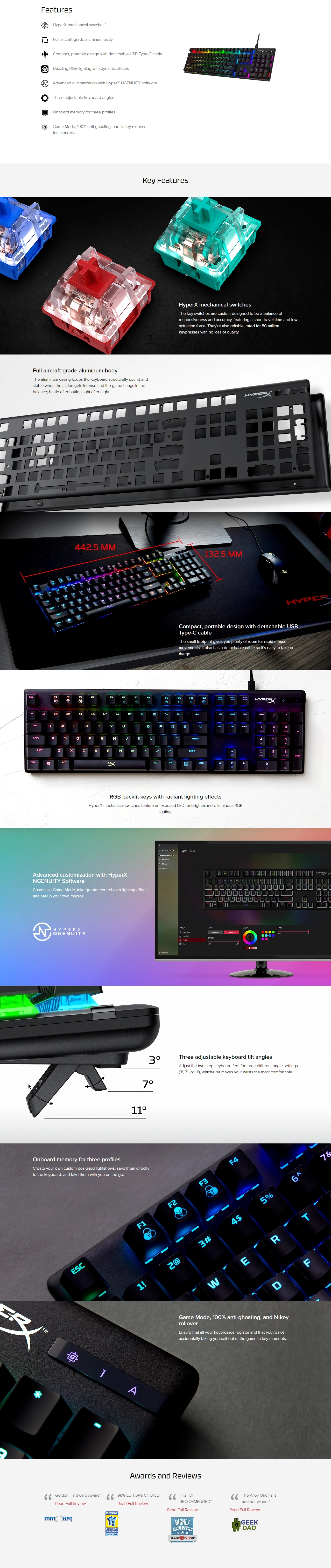 A large marketing image providing additional information about the product Kingston HyperX Alloy Origins RGB Mechanical Gaming Keyboard (HyperX Aqua Switch) - Additional alt info not provided