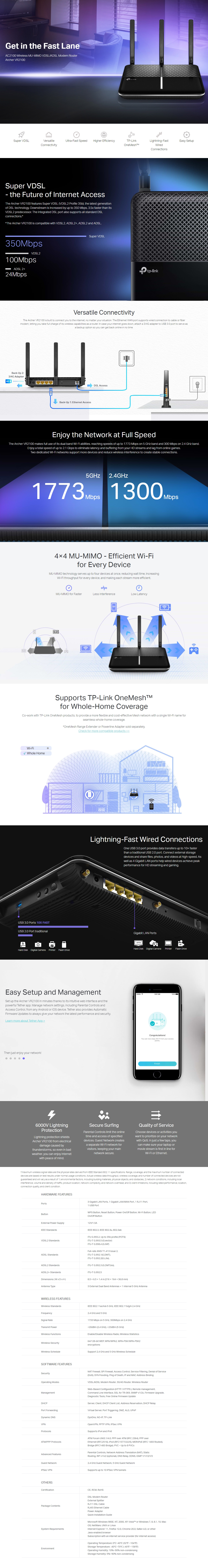 A large marketing image providing additional information about the product TP-LINK Archer VR2100 Wireless Dual Band MU-MIMO VDSL Modem Router - Additional alt info not provided