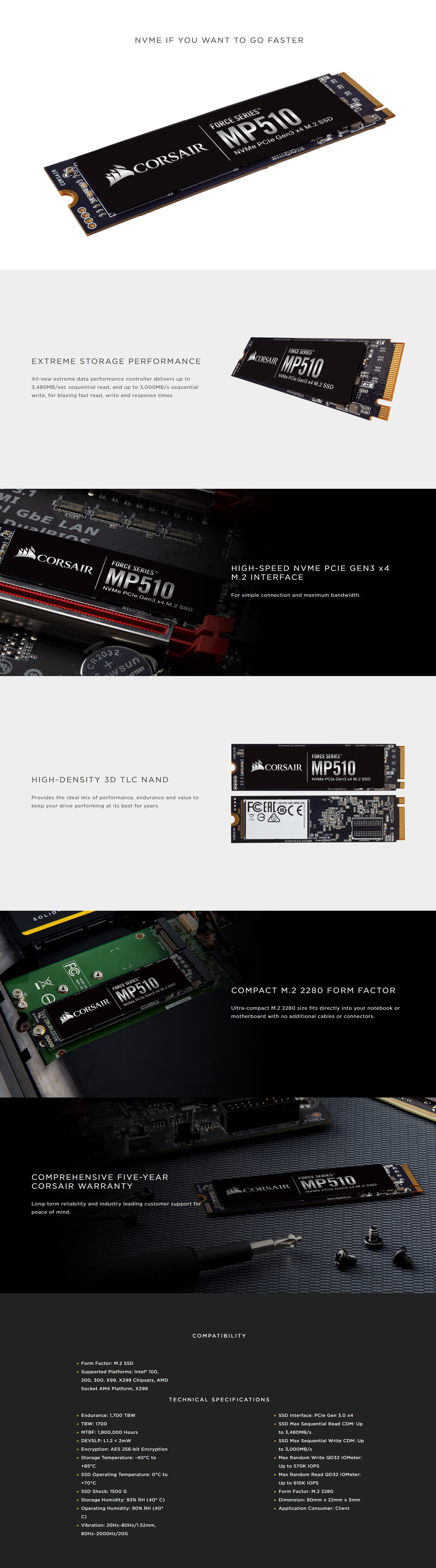 A large marketing image providing additional information about the product Corsair Force MP510 960GB M.2 NVMe - Additional alt info not provided