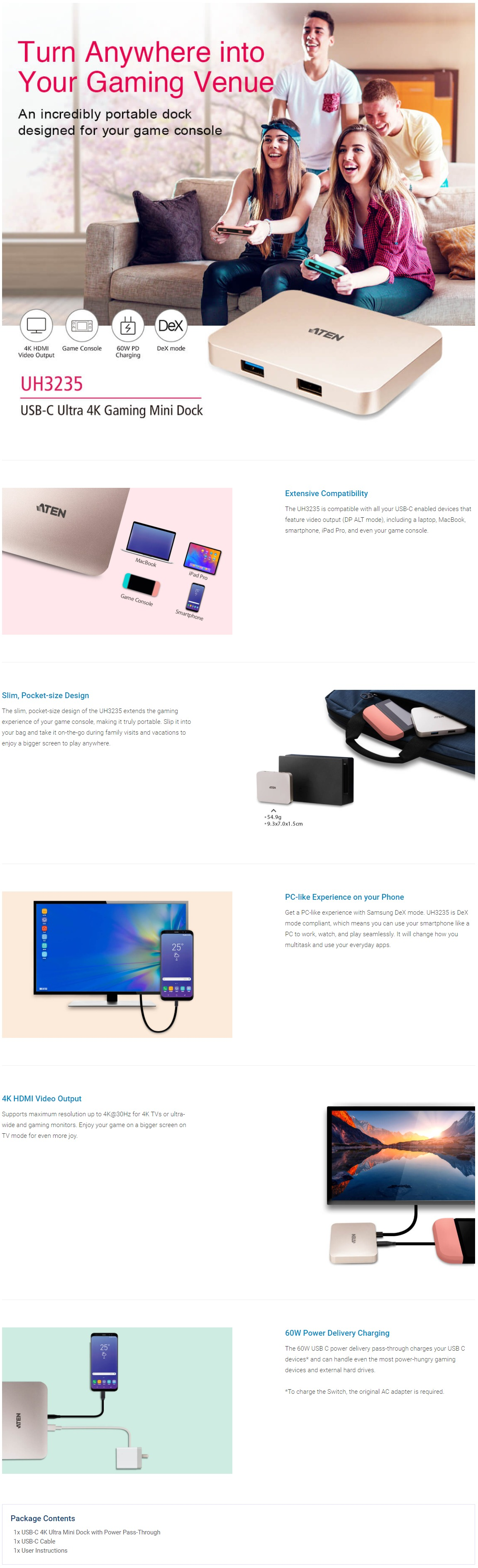 A large marketing image providing additional information about the product ATEN USB-C 4K Ultra Mini Dock with Power Pass-through - Additional alt info not provided
