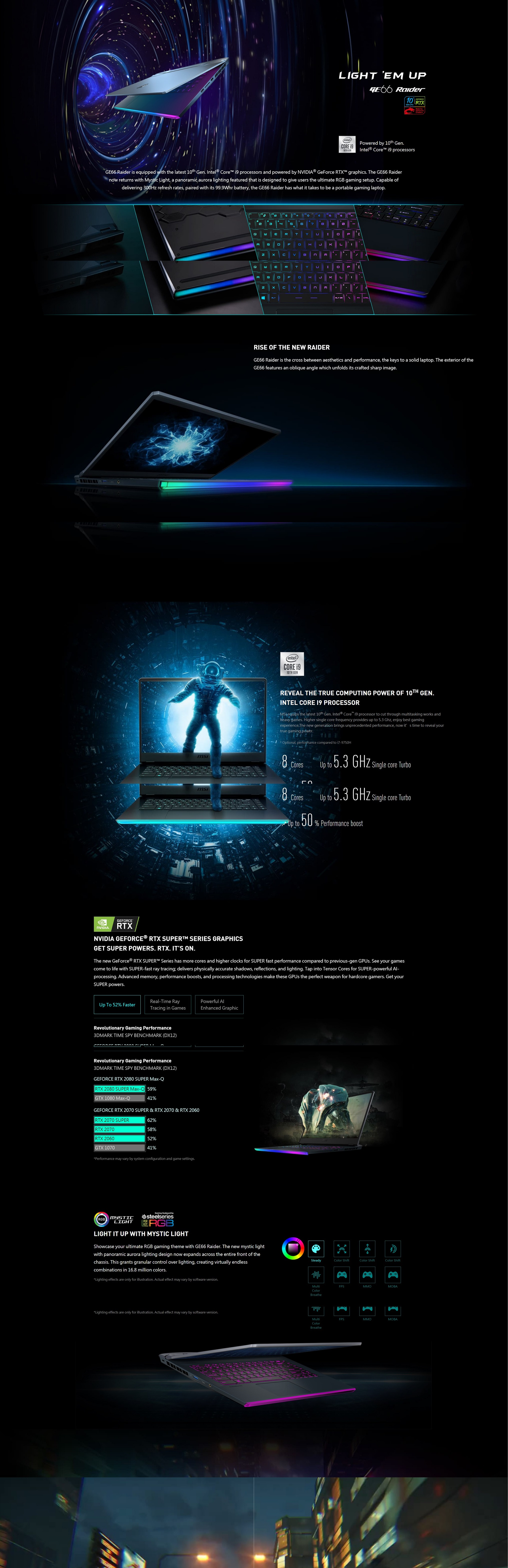 """A large marketing image providing additional information about the product MSI GE66 Raider 10SE 15.6"""" i7 10th Gen RTX 2060 Windows 10 Gaming Notebook - Additional alt info not provided"""