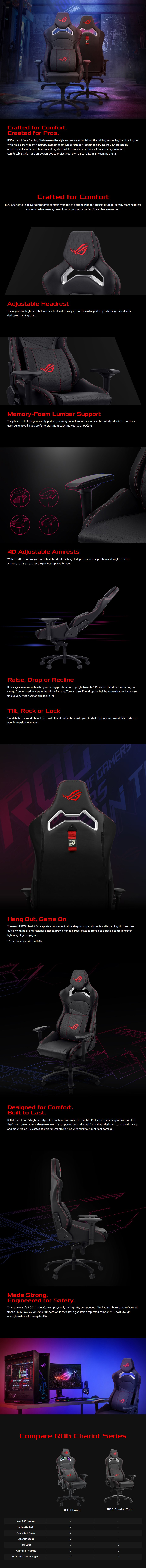 A large marketing image providing additional information about the product ASUS ROG Chariot Core Gaming Chair - Additional alt info not provided