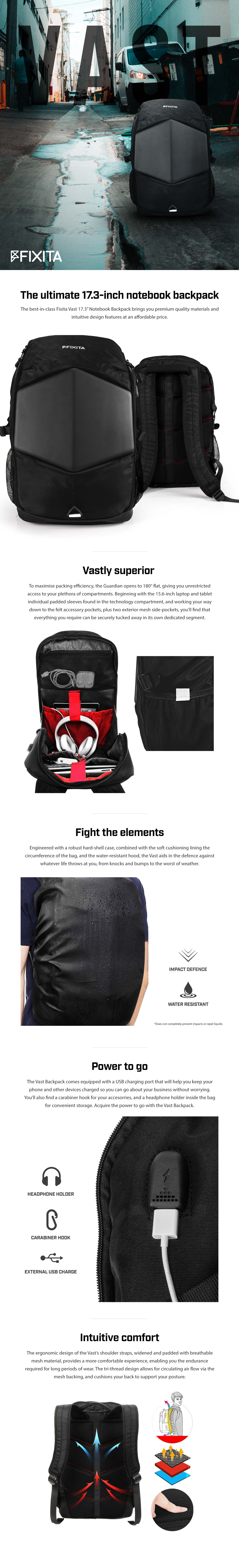 "A large marketing image providing additional information about the product Fixita Vast 17.3"" Black Notebook Backpack - Additional alt info not provided"