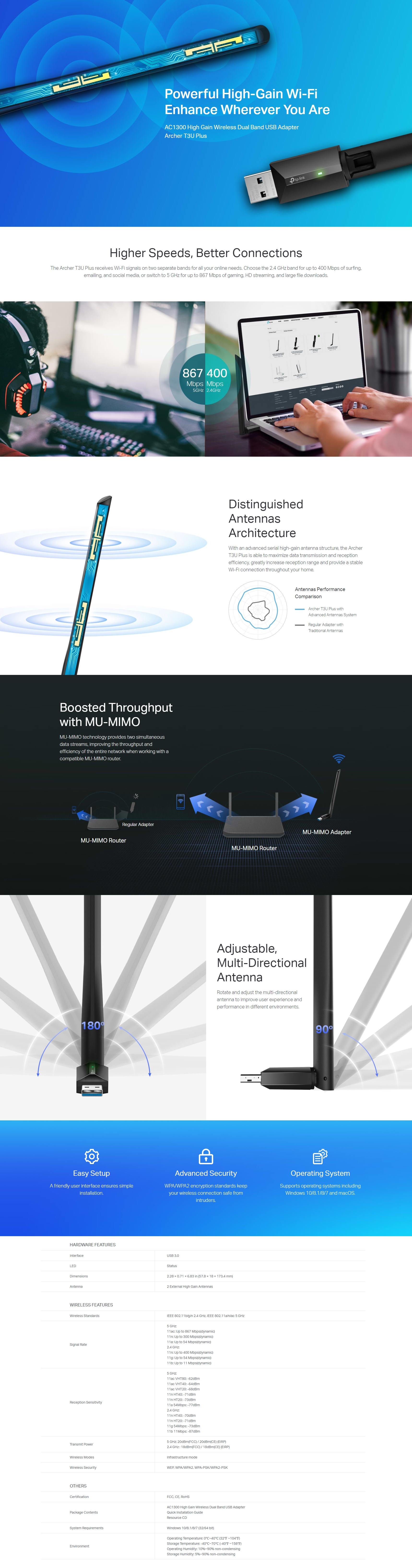 A large marketing image providing additional information about the product TP-LINK Archer T3U Plus AC1300 Dual Band Wireless USB Adapter - Additional alt info not provided