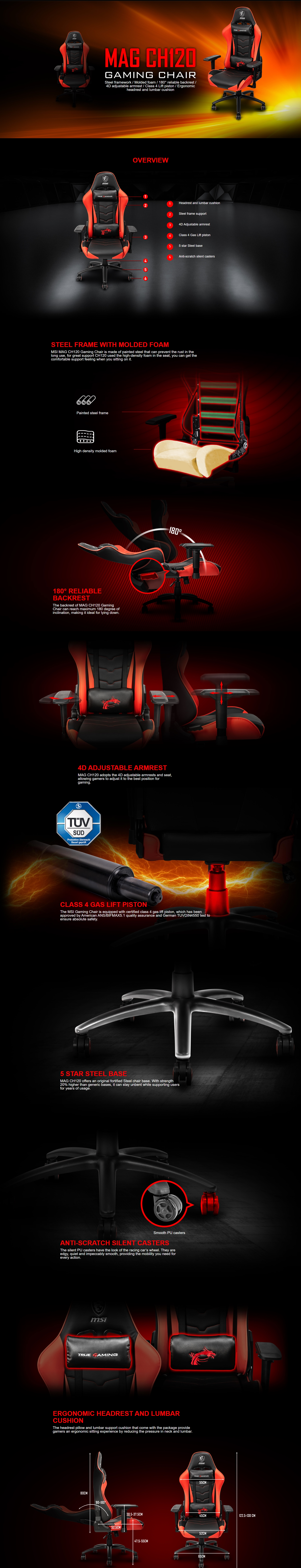 A large marketing image providing additional information about the product MSI MAG CH120X Gaming Chair - Additional alt info not provided