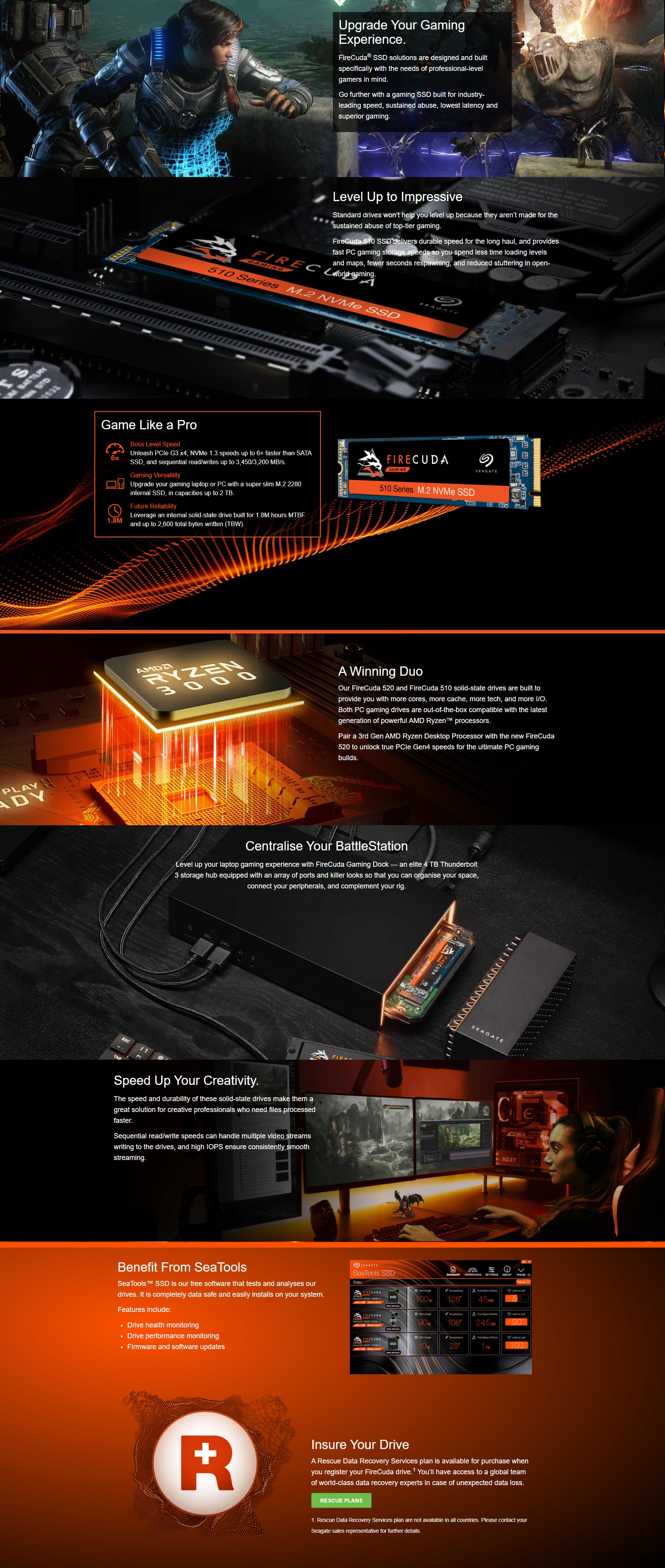 A large marketing image providing additional information about the product Seagate FireCuda 510 500GB NVMe M.2 SSD - Additional alt info not provided