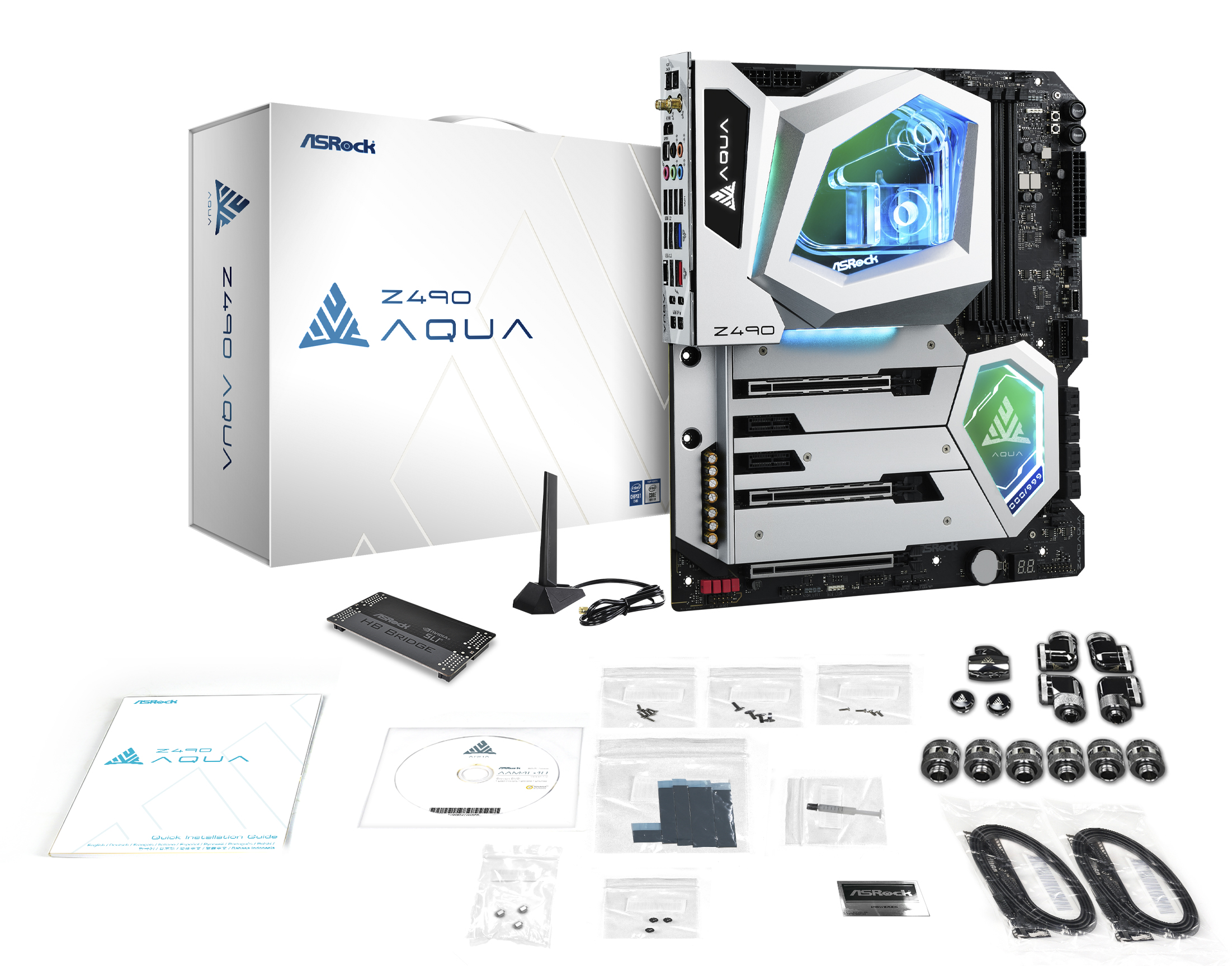 A large marketing image providing additional information about the product ASRock Z490 Aqua LGA1200 ATX Desktop Motherboard - Additional alt info not provided