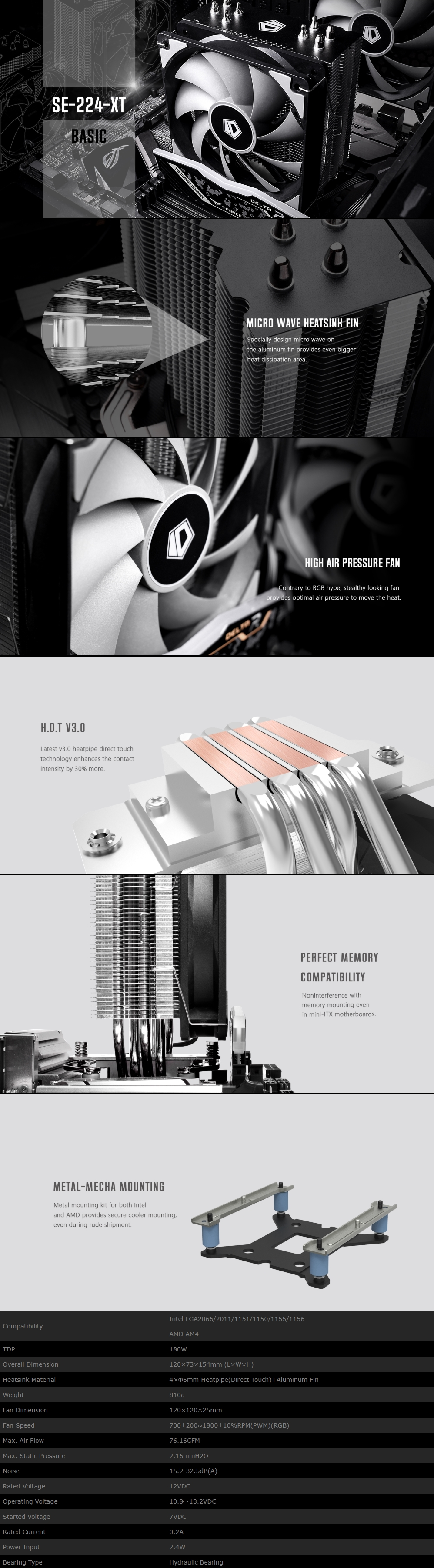 A large marketing image providing additional information about the product ID-COOLING Sweden Series SE-224-XT CPU Cooler - Additional alt info not provided