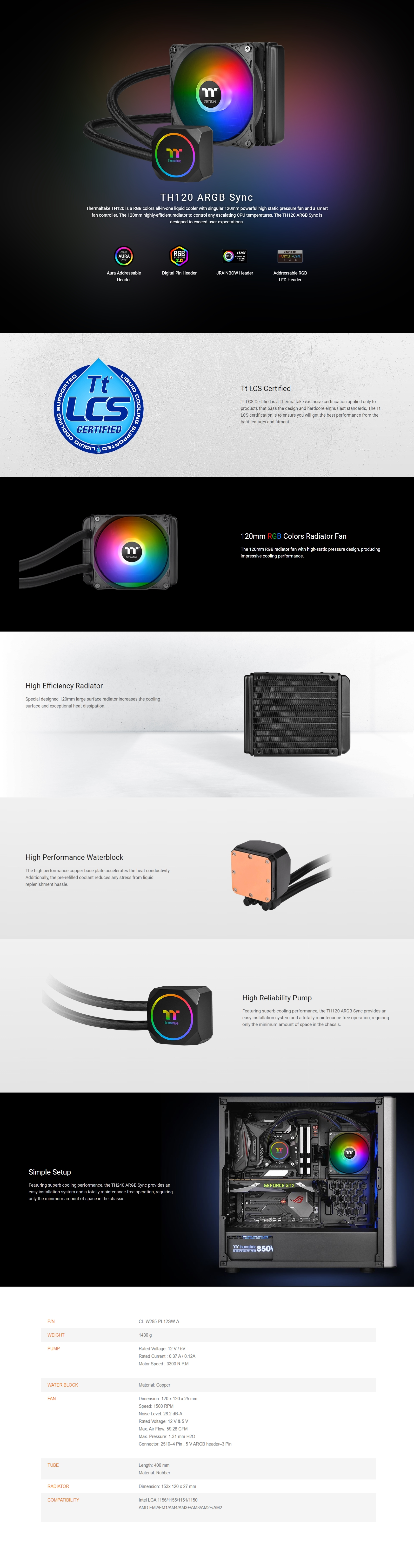 A large marketing image providing additional information about the product Thermaltake TH120 ARGB AIO Liquid CPU Cooler - Additional alt info not provided