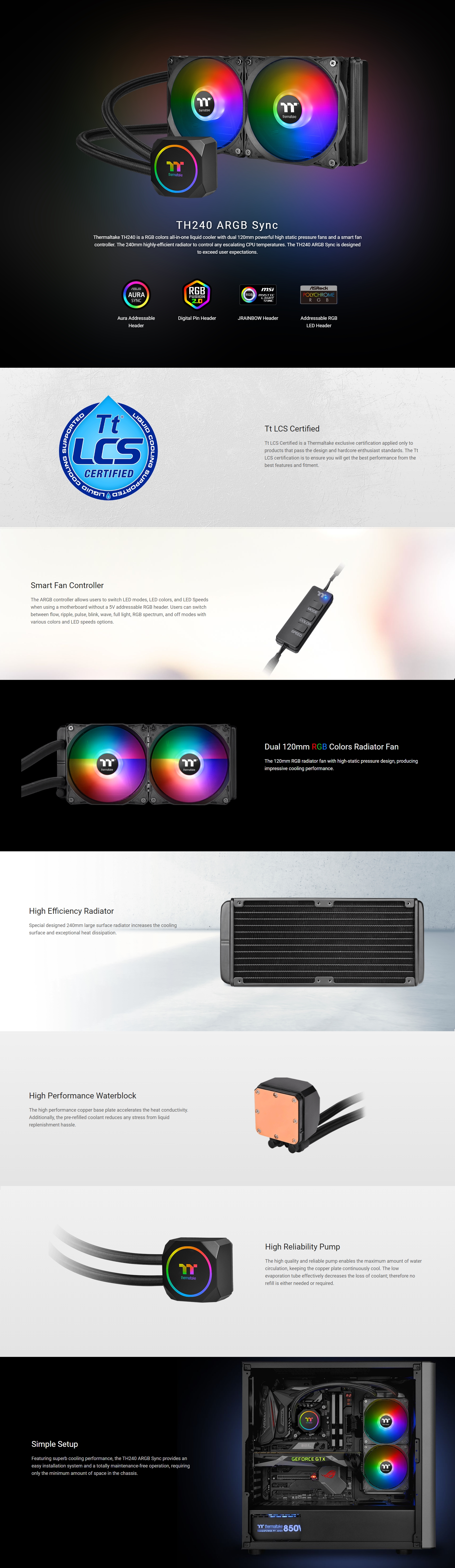 A large marketing image providing additional information about the product Thermaltake TH240 ARGB AIO Liquid CPU Cooler - Additional alt info not provided