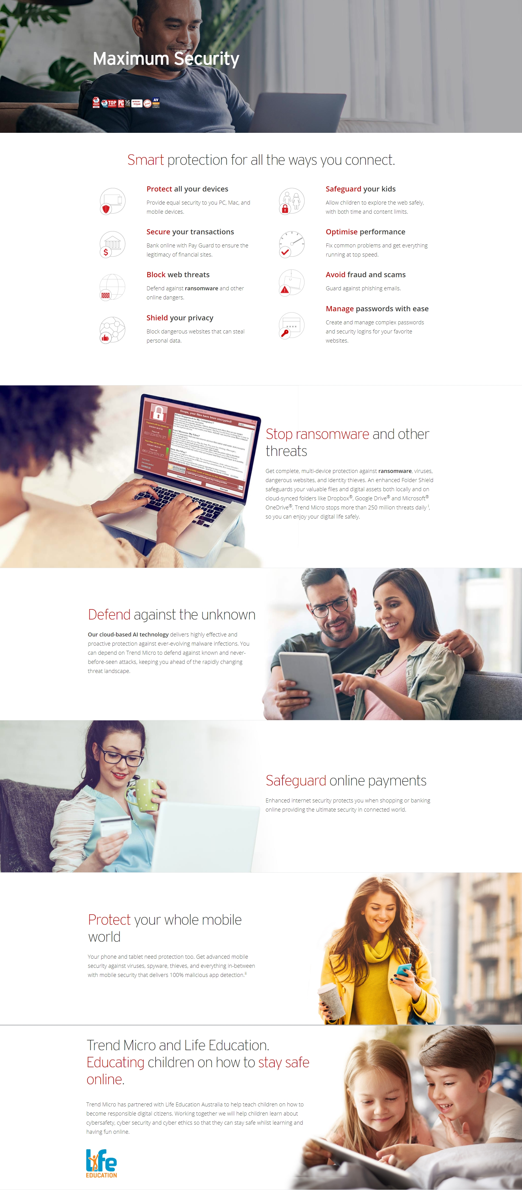 A large marketing image providing additional information about the product Trend Micro Maximum Security 5 Device 24 Month Retail Pack - Mini Box - Additional alt info not provided