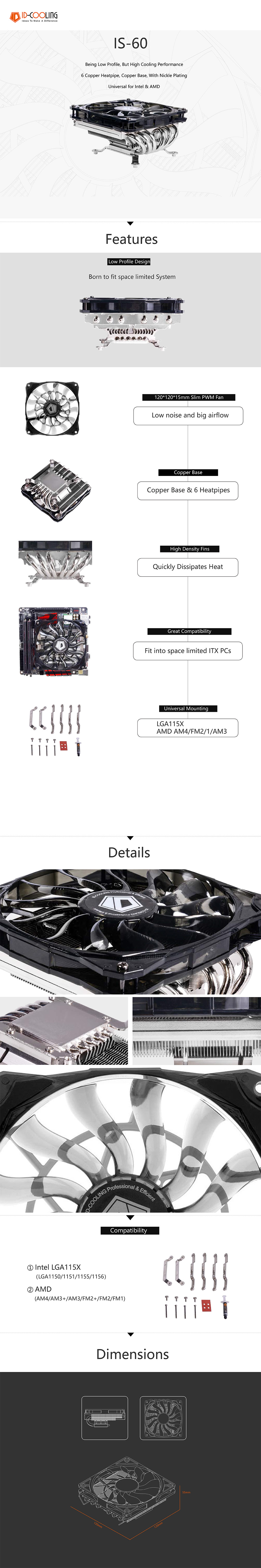 A large marketing image providing additional information about the product ID-COOLING Iceland Series IS-60 Low Profile CPU Cooler - Additional alt info not provided