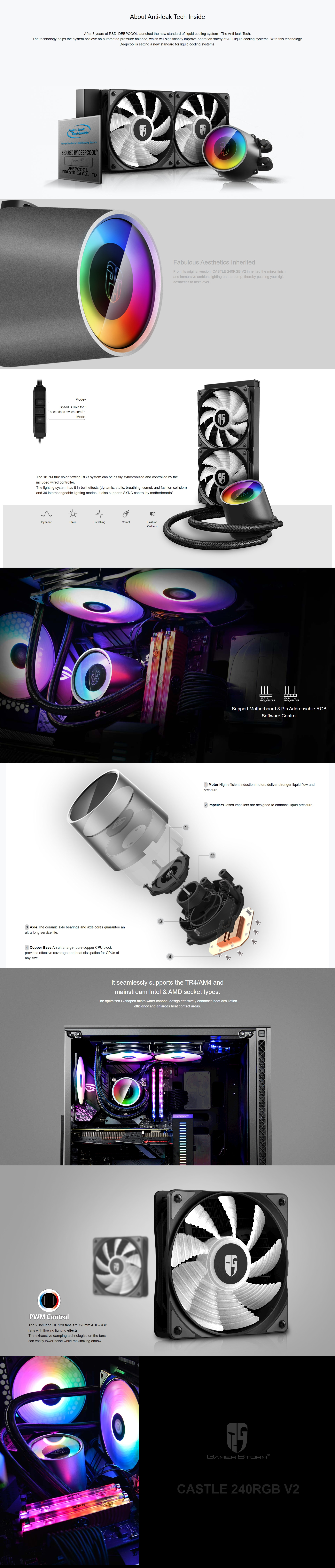 A large marketing image providing additional information about the product Deepcool CASTLE 240RGB V2 AIO Liquid CPU Coolers - Additional alt info not provided