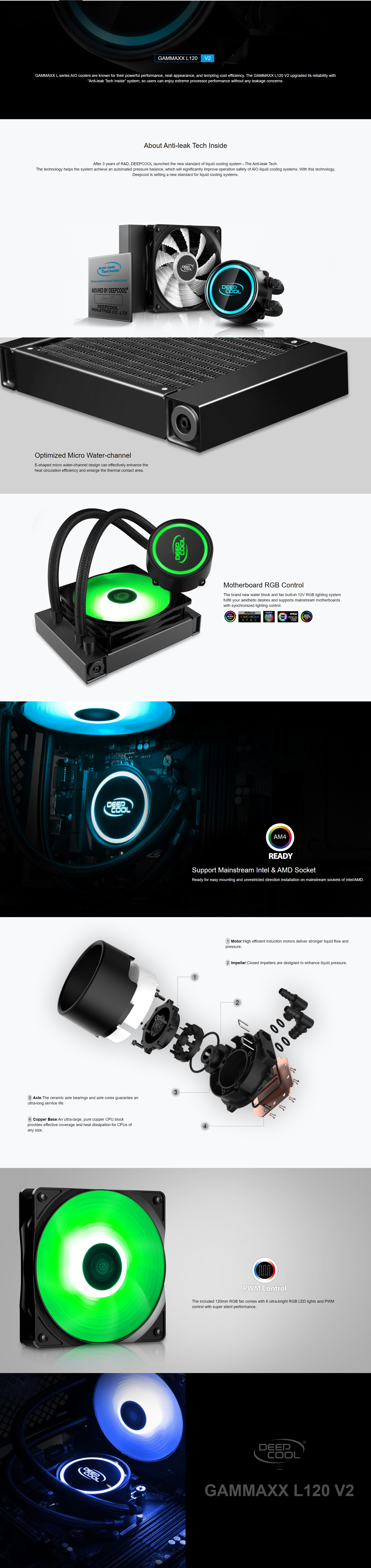 A large marketing image providing additional information about the product Deepcool GAMMAXX L120 V2 RGB AIO Liquid CPU Cooler - Additional alt info not provided