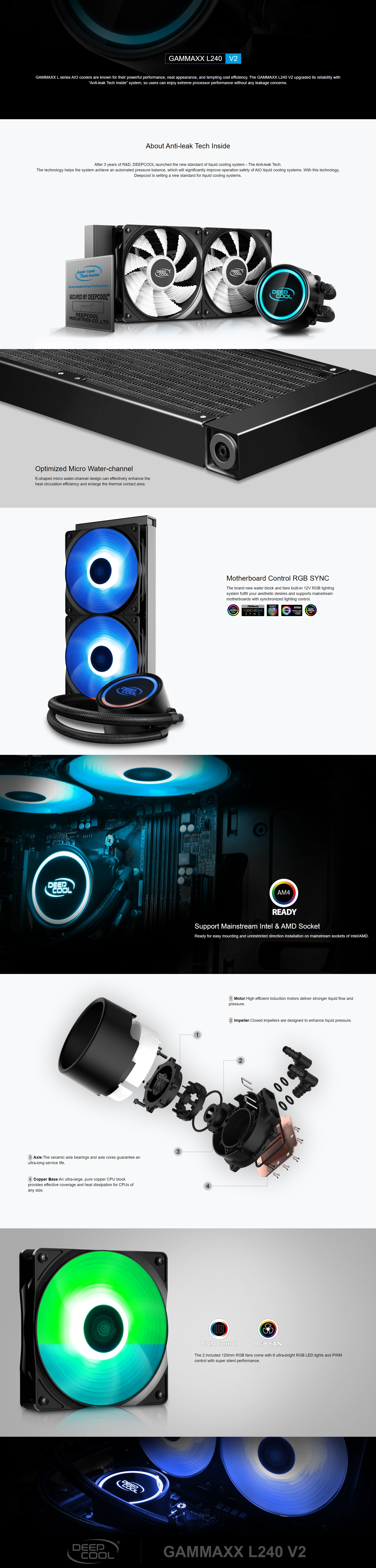A large marketing image providing additional information about the product Deepcool GAMMAXX L240 V2 RGB AIO Liquid CPU Cooler - Additional alt info not provided