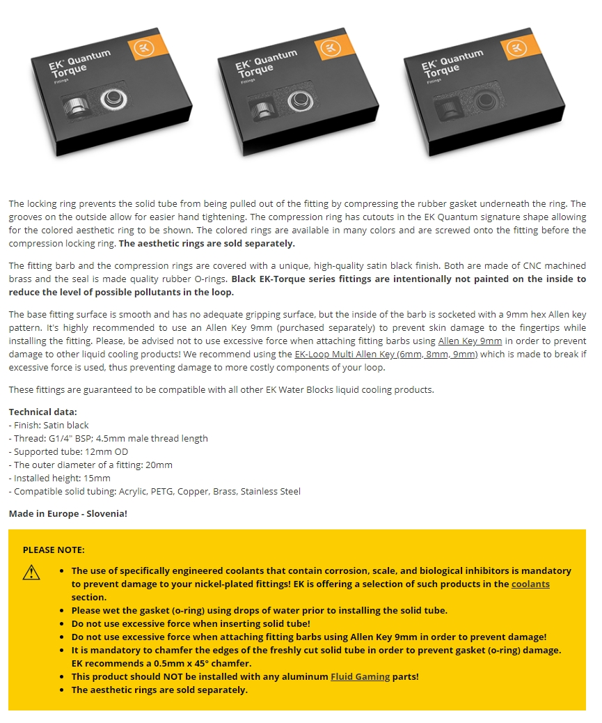 A large marketing image providing additional information about the product EK Quantum Torque 6-Pack HTC 12 - Black - Additional alt info not provided