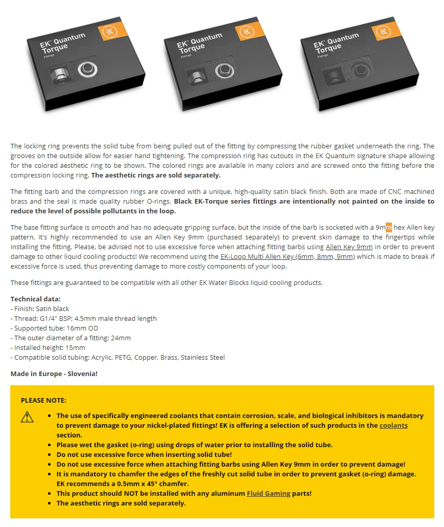 A large marketing image providing additional information about the product EK Quantum Torque 6-Pack HTC 16 - Black - Additional alt info not provided