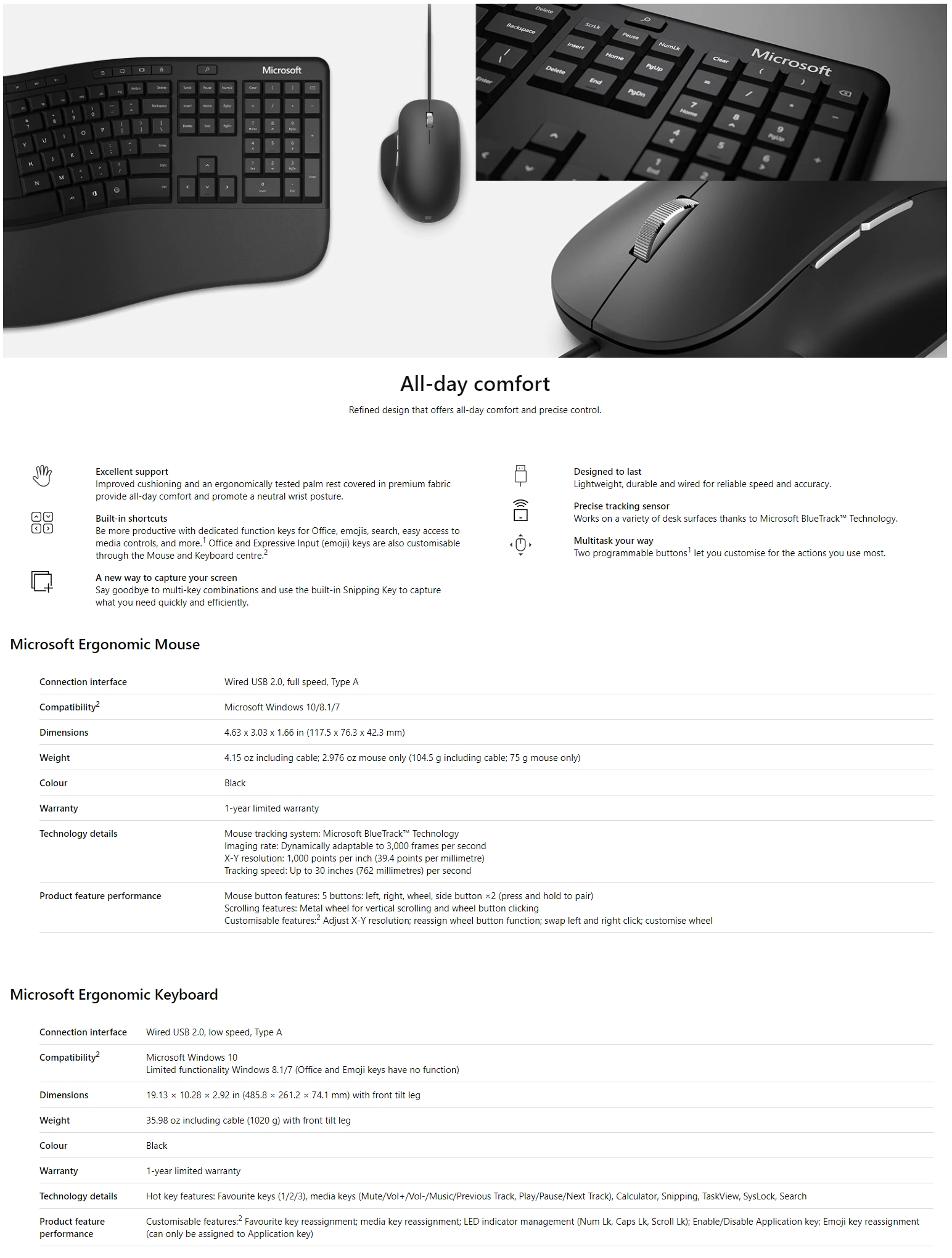 A large marketing image providing additional information about the product Microsoft Ergonomic Wired Desktop Keyboard & Mouse Kit - Additional alt info not provided
