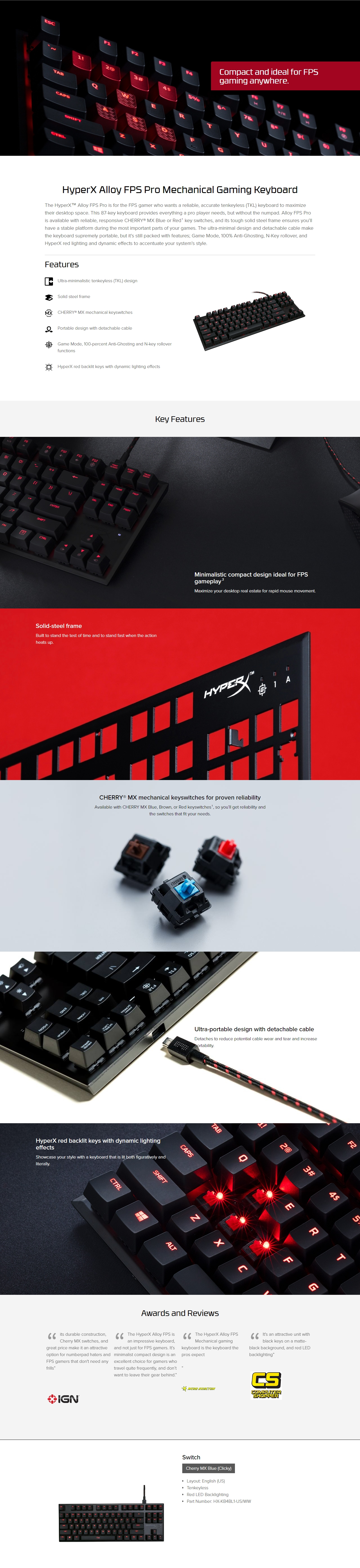 A large marketing image providing additional information about the product Kingston HyperX Alloy Pro Mechanical Gaming Keyboard (MX Blue) - Additional alt info not provided