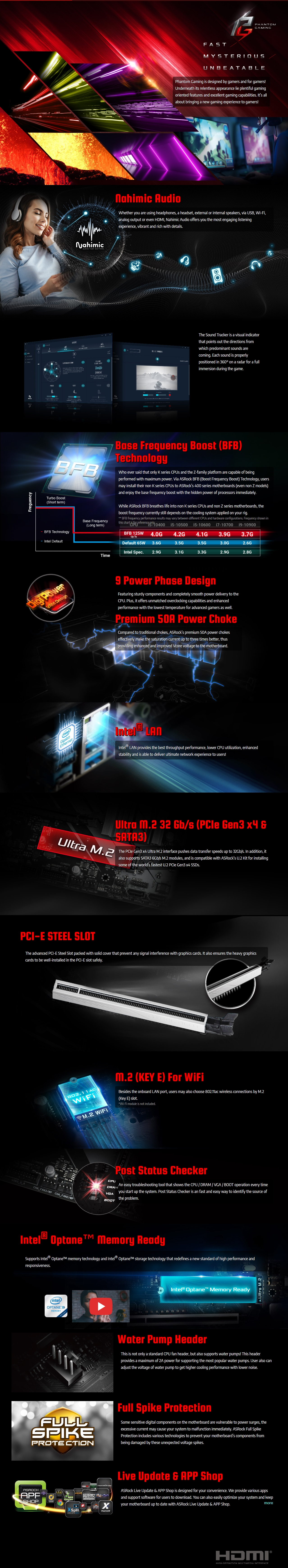 A large marketing image providing additional information about the product ASRock B460 Phantom Gaming 4 LGA1200 ATX Desktop Motherboard - Additional alt info not provided