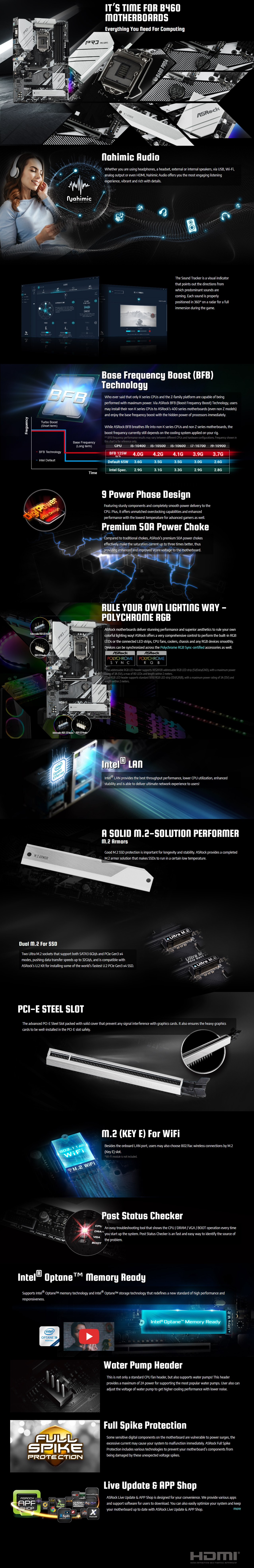 A large marketing image providing additional information about the product ASRock B460 Pro4 LGA1200 ATX Desktop Motherboard - Additional alt info not provided