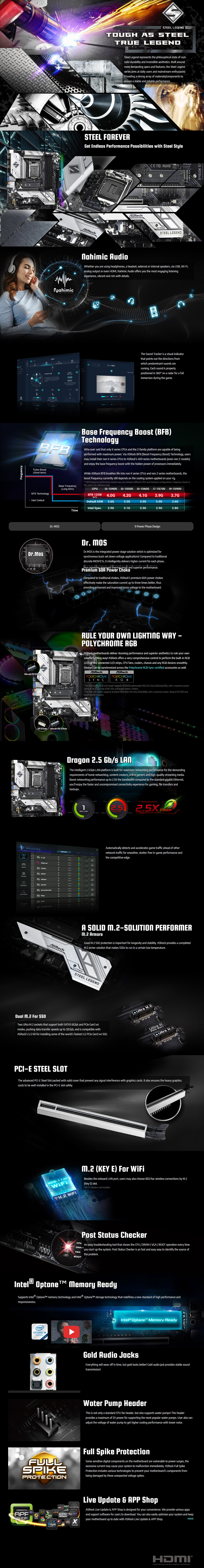 A large marketing image providing additional information about the product ASRock B460M Steel Legend LGA1200 mATX Desktop Motherboard - Additional alt info not provided